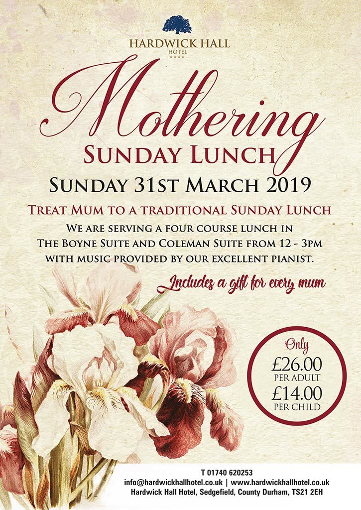 Mothers Day Sunday Lunch Hardwick Hall Hotel