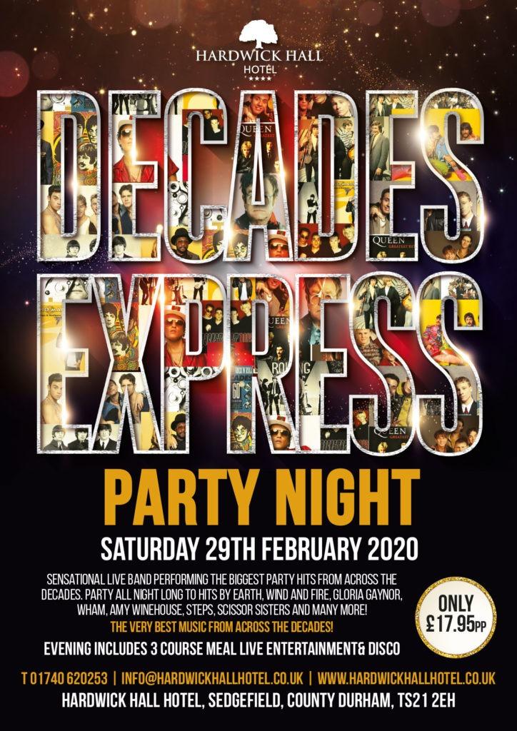 Decades Express Party Night Hardwick Hall Hotel